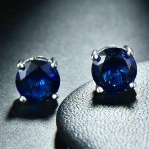 18K Gold Blue Sapphire Swarovski Crystal Studs